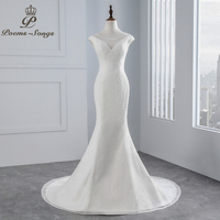 PoemsSongs Real Photo 2018 Beading Beading Sexy Chest Mermaid Wedding Dress Cap Sleeves Lace Wedding Gown