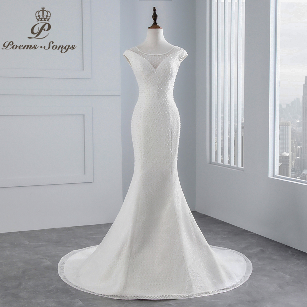 PoemsSongs real photo 2018 beading beading peito Sexy Mermaid vestido de noiva mangas lace Vestido de Casamento Vestido de noiva