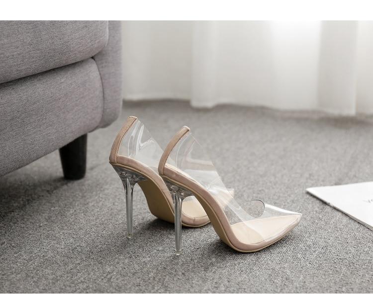 HTB1G4BCQAzoK1RjSZFlq6yi4VXat Aneikeh 2020 Concise Fashion PVC Woman Transparent Sandals Thin High Heels Shoes Pointed Toe Pumps Slip On Solid Apricot 35-42