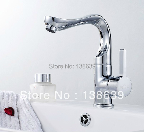 Brass Bathroom Single Handle Mixer Tap Chrome Finished: Free Shipping 2016 New Modern Chrome Finished Brass