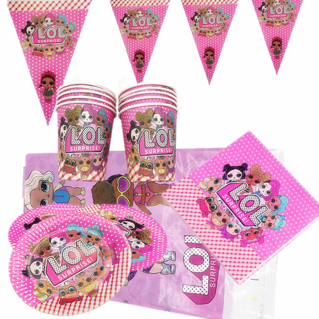 51pcs Supplies Doll Theme Disposable Tableware Set Paper Plate Cup Flag Napkins Tablecloth Happy Birthday Party Supplies