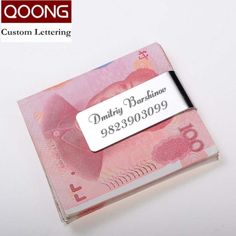 QOONG Custom Lettering Black Silver Slim Pocket Men Women Money Clip Business Card Credit Card Cash Wallet QZ40 004 in Money Clips from Luggage Bags