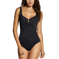 Women's Ruched Padded One Piece Slimming Swimsuit with Underwire