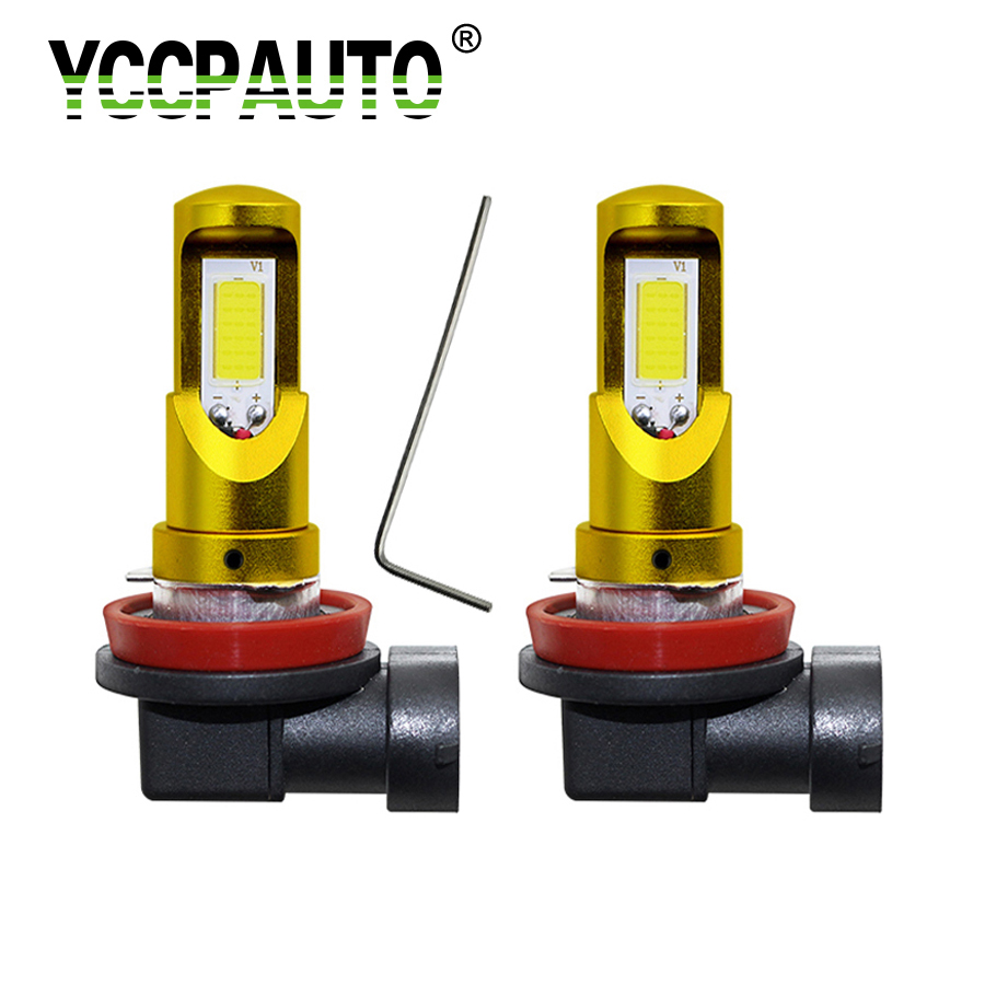 YCCPAUTO Car Front Fog Lights DRL Daytime Running Light H8 H11 LED Bulbs High Power COB 2000LM White Yellow/Amber Auto Lamp 2Pcs h3 vehicle 4300k yellow led 2pcs fog driving drl light 100w lamp bulbs projector lamps car accessories high power