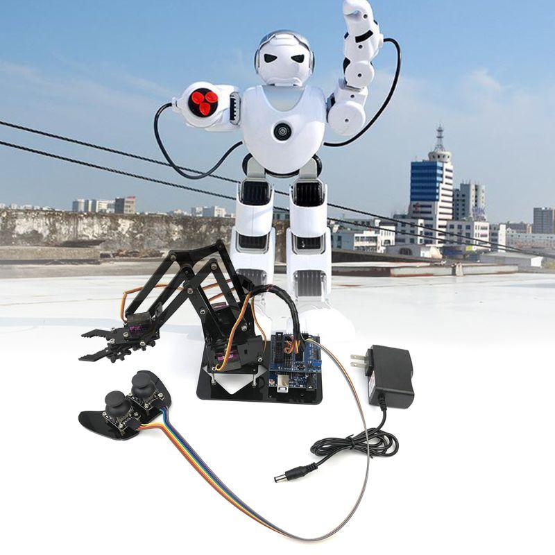 Bricolage Assemblé Acrylique 4-Dof Robot bras mécanique Circuit Kits pour Arduino D'apprentissage jouet scientifique