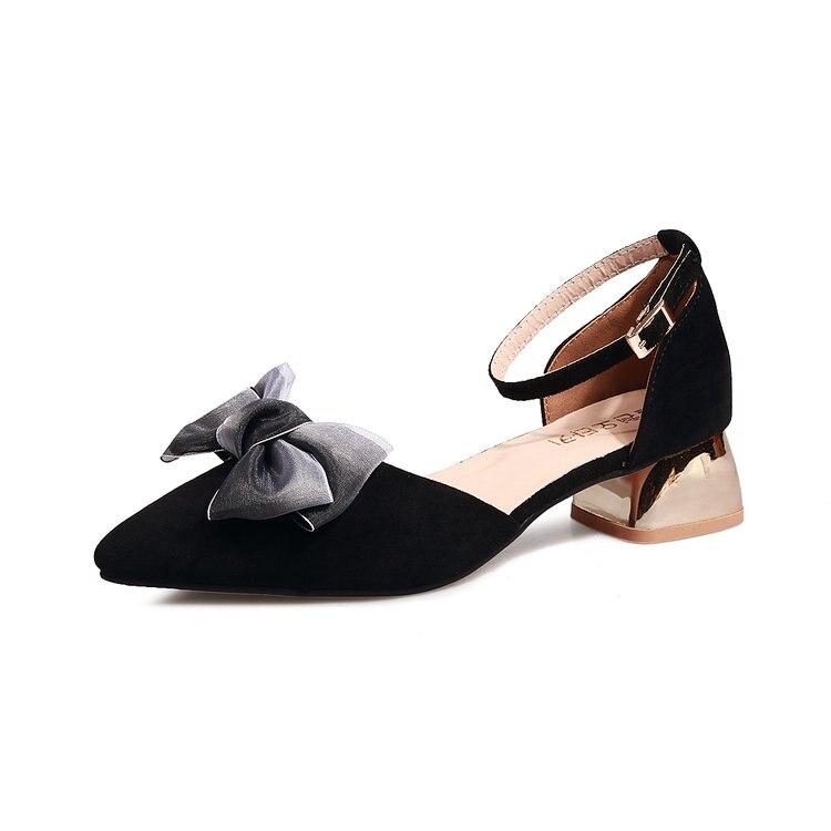 rose Concise Peu Élégant Coréenne Doux Arc Hauts Talons Épais 2019 Profonde Mode Sauvage Printemps Chaussures Noir Bouche Avec Beauté Simples Nouvelle xpqxORwA0Y