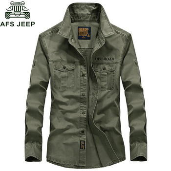 AFS Jeep Brand Spring Autum Military Shirt Men 100% Cotton Long Sleeve Army Shirts Camisetas hombre Plus Size 4XL Chemise homme
