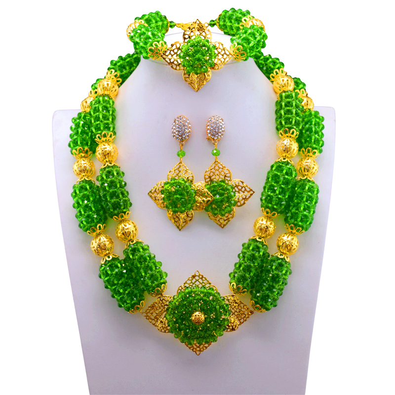 Indian Crystal Bridal Women Costume Jewelry Set Fashion African Green Beads Chunky Necklace Set New Free Shipping luxury african beads bridal jewelry set 3 rows green crystal balls necklace set women costume jewelry set free shipping abc990