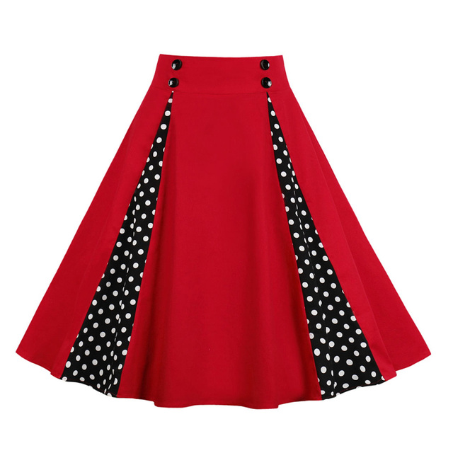 326dd9b81e 1950's Vintage Skirts Spring Summer Red Polka Dot Women Skirts Retro 50s  60s Vintage Skirts Rockabilly Swing Feminino