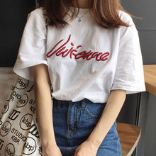 цена на NiceMix 2019 harajuku solid letter printed women t-shirts cotton t shirt short sleeve o-neck women tops BF wind chic Embroidery