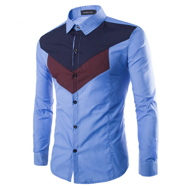 SELX Men Slim Fit Patchwork Long Sleeve Button Front Casual Shirt