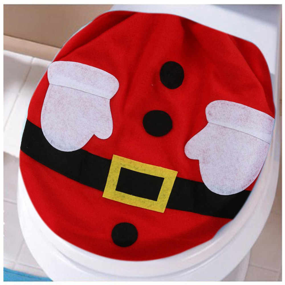 Новое Рождественское украшение, чехол, Рождественская крышка Санта Клауса, один мягкий чехол для унитаза, теплая накладка на унитаз, коврик, аксессуары для ванной комнаты