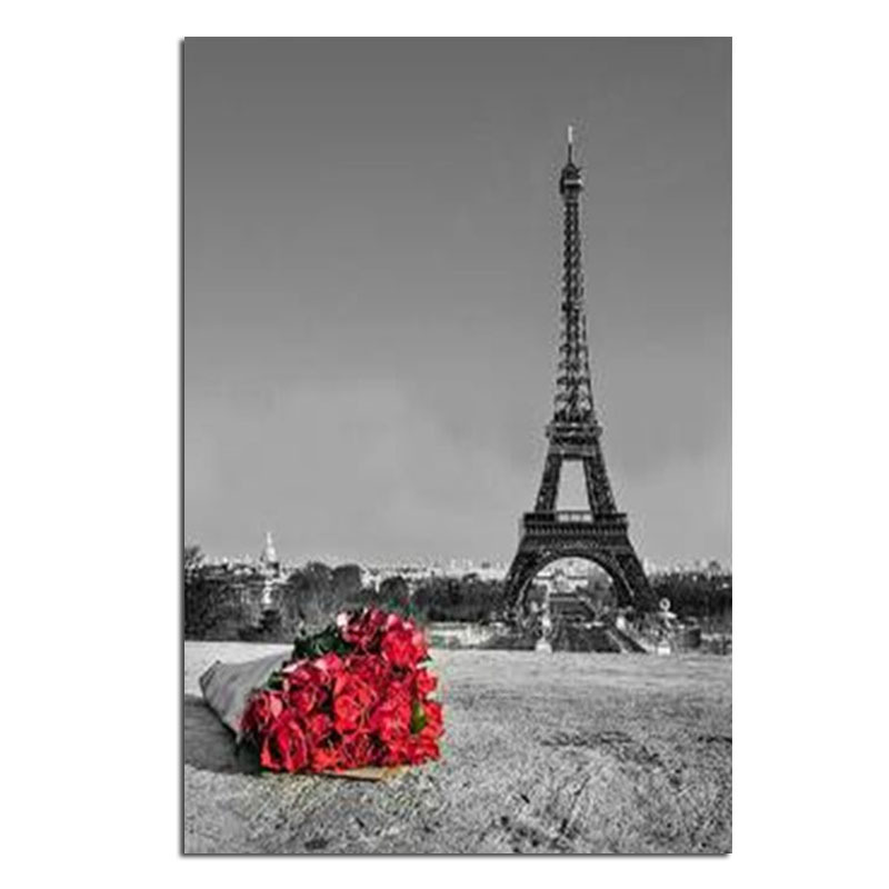 Effie Tower Rose 20x30cm Celá vrtačka diamantová výšivka 3d diamantový křížový steh módní diamantová mozaika obrázky drahokamů