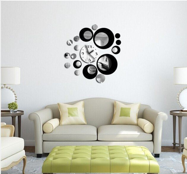 Double Color 3d Home Decoration Wall Stickers Decal Diy Vintage Mirror Wall Clock Modern Design Watch