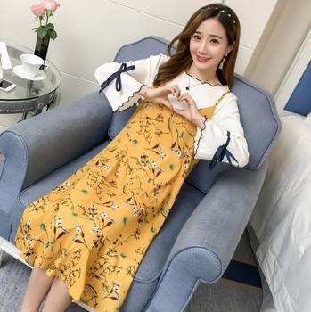 Moda vestido de maternidad verano bordado largo suelto gran tamaño maternidad falda D-33