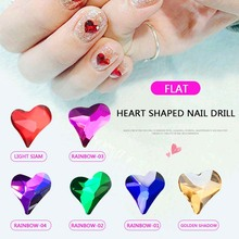 25Pcs/Pack Flat Shaped Multi-color Peach Heart Glass Flame Colorful Stones For 3D Nail Art Rhinestones Decoration