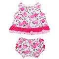 Newborn baby dress set flor de algodão conjuntos de roupa da menina de verão sem mangas babados dress pp + bermuda + bandana ropa parágrafos bebes ninas
