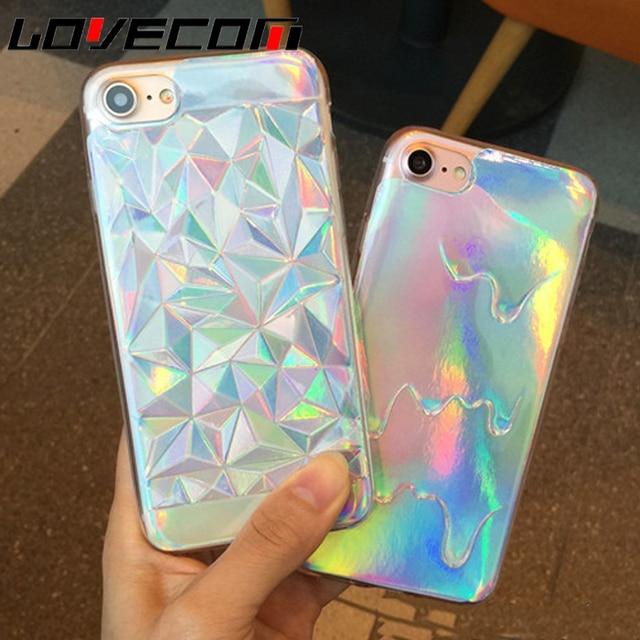 LOVECOM Para iPhone 5 5S SE 6 6 S 7 Mais Telefone caso Luxo Brilhante Holograma Iridescent Triângulo Pastel de Fusão TPU Macio Para Trás cobrir