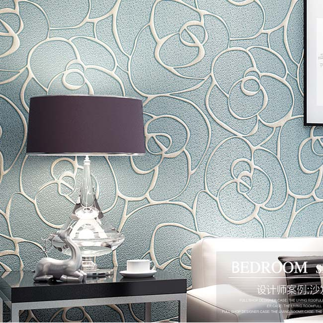 QIHANG Modern Minimalist Embossed 3D Rose Flower Non-woven Wallpaper Light Blue Color 0.53m*10m=5.3m2