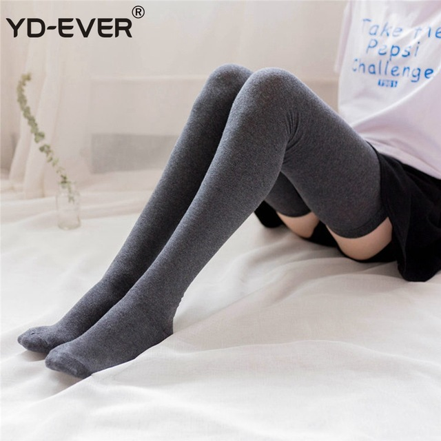 600f9490b YD-EVER Women Thick White Black Stockings Sexy Thigh High Socks Over Knee  Kawaii Stockings