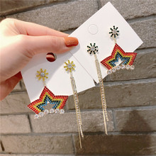 Korean Asymmetry Tassel Star Colorful Rhinestone Anti-allergy Woman Girls Dangle Drop Earrings Fashion Jewelry-QQD5