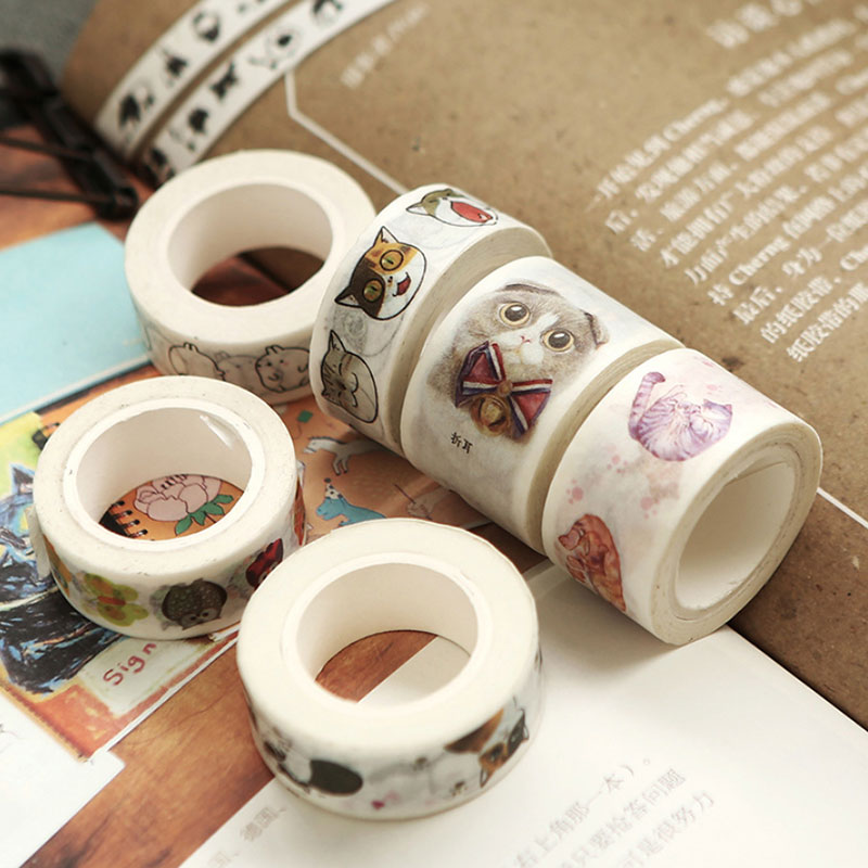 1 Pcs Cute Cat Owl Series 1.5 Cm -2.5 CmX 7 M Kawaii Washi Tape Children Like DIY Diary Decoration Masking Tape Stationery Tools