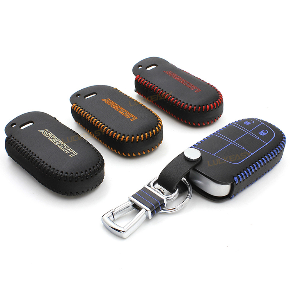 Leather car key case wallet holder for dodge durango jcuv 2013 2014 ram 1500 key cover