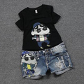 Summer 2 Pieces Clothes Set Women Short Sleeve Tops and Shorts Sequined  Cartoon Pattern Print  Shorts Jeans Sets C015