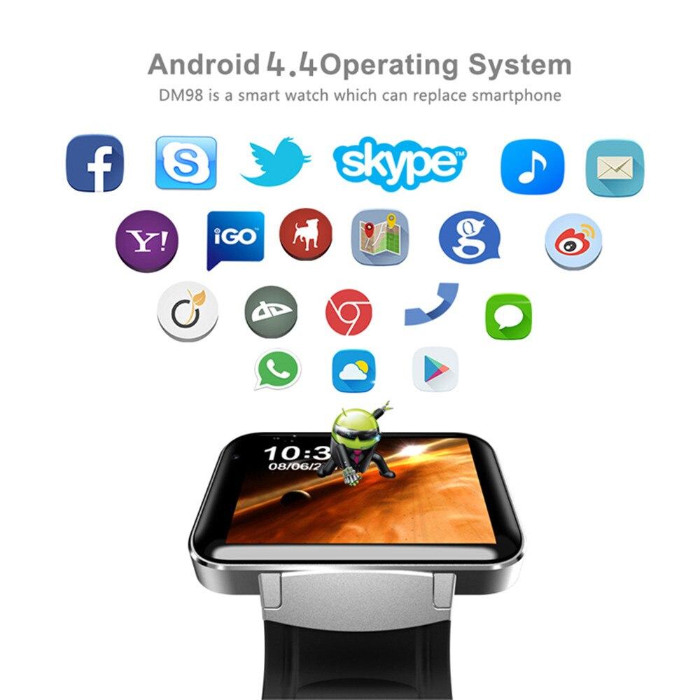 DM98 Smart Horloge MTK6572 2.2 inch Scherm 900mAh Batterij 512MB Ram 4GB Rom Android OS 3G WCDMA GPS WIFI Smartwatch Voorraad - 3