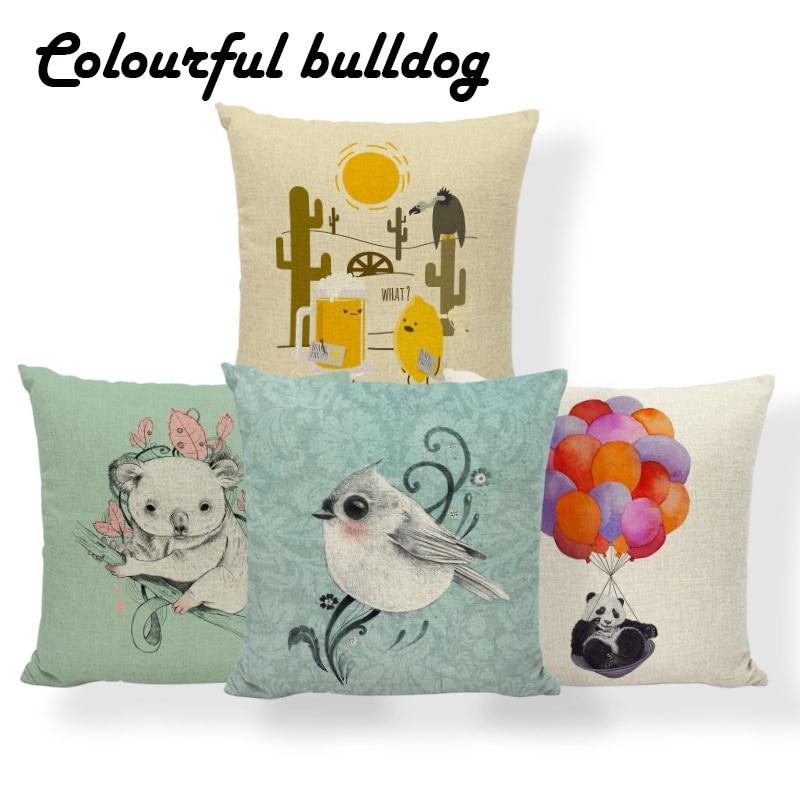 Bird Cat Cactus Beer Cushions Cover Koala Rabbit Panda Pillows Bohemian Beach Gifts For Decor Throw Pillow Case 17X17 Linen Kids