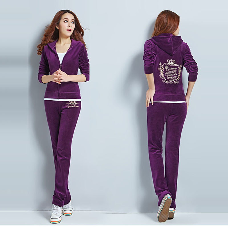 Hot Selling Velvet Sweat Suits Women Leisure Sportswear Hoodies Tops and Sweat Pants Set