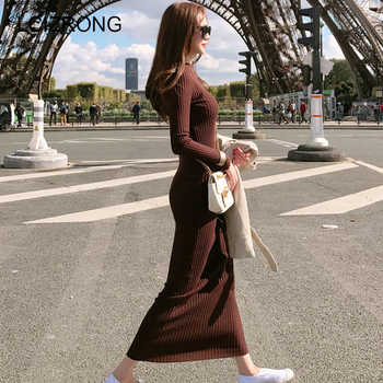 Spring Fashion Knitting Cotton Dress Women Long Sleeve O-neck Sheath Ankle-Length Dress Winter Warm Slim Pullovers Sweater Dress - DISCOUNT ITEM  42% OFF All Category