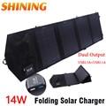 14 w folding portable painel solar carregador ipower tecnologia, dupla Saída 5 V Banco de Energia Solar de Acampamento Carregador Solar Power Pack