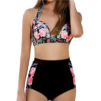Bikini Set Plus Size Swimwear Women Floral Printed Swimsuit Patchwork Bathing Suit High Waist Swimming Wear