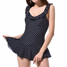 ФОТО new 2017 female plus size swimming suit women retro wave point fungus side one-piece skirt type bathing suit halter top swimsuit