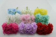 6 шт./букет 4 см Искусственные цветы шелк цветок diy ручной сирень гвоздики украшен головной убор венок Материал