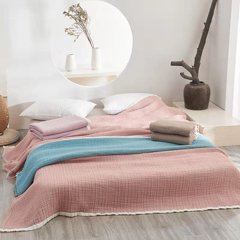 Three Layers Lightweight 100 cotton Soft Washed Cotton Gauzy Blanket Muslin Quilt Comforter Bedding Coverlet bedroom Throw in Blankets from Home Garden
