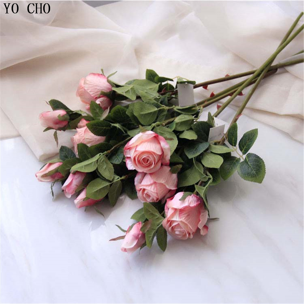 YO CHO Artificial Decorations Artificial Flowers 2 Head Silk Roses Christmas Home Decoration Accessories Wedding Flower Peony in Artificial Dried Flowers from Home Garden