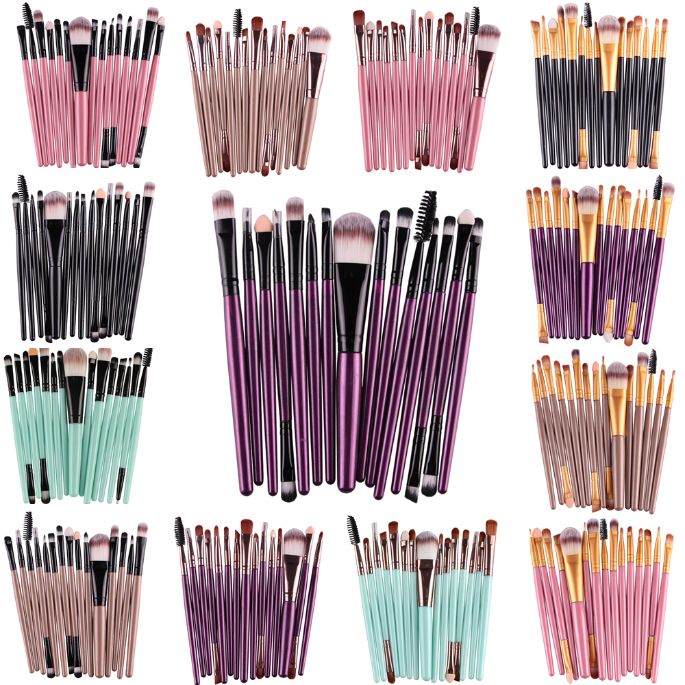 Hot selling 15Pcs/Kit Makeup Brushes Set Eye Shadow Brow Eyeliner Eyelash Lip Foundation Power Make Up Brush Beauty Tools maange pro 18pcs kit makeup brushes set eye shadow brow eyeliner eyelash lip foundation power cosmetic make up brush beauty tool