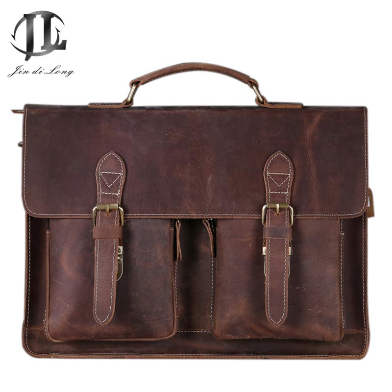 New Oil Wax Crazy Horse Genuine Leather font b Men s b font Classic Briefcase Handbag