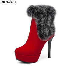 NemaoNe Sexy Ultra High Heels Shoes Woman Female Round Toe snow Boots Thick Heel Platform Women Shoes Ankle Boots