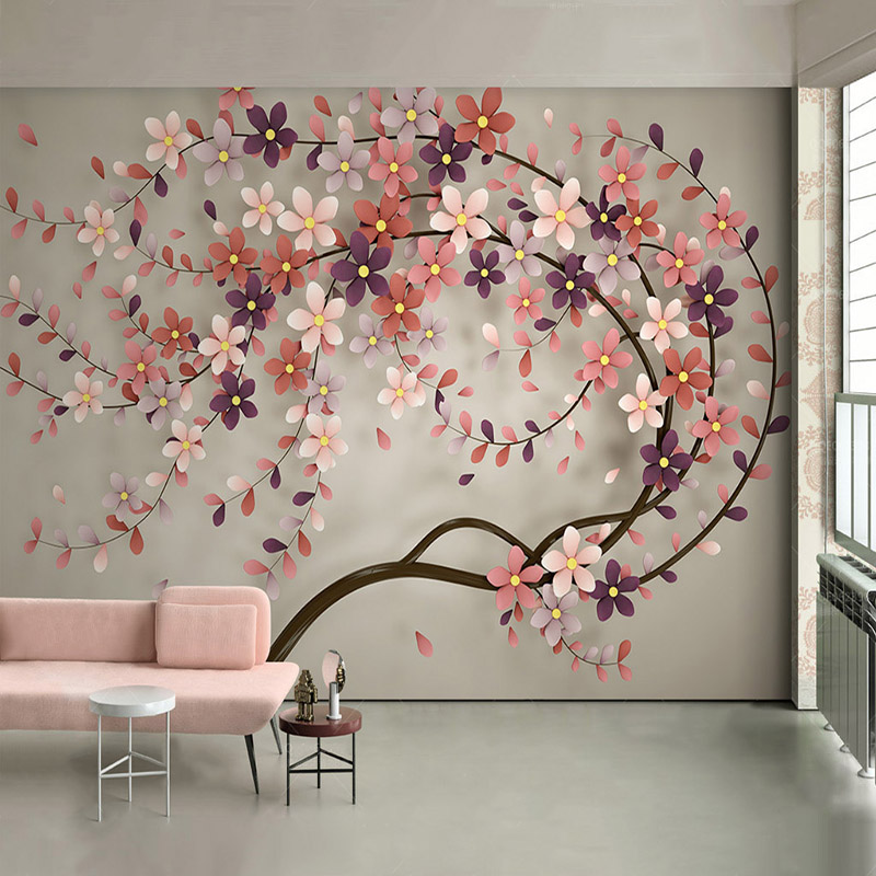 23 Floral Wallpaper Designs Decor Ideas: Modern Creative Flowers Tree Photo Mural Wallpaper Living