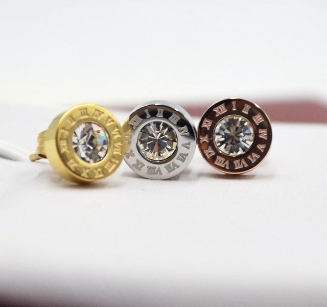 One Diamon Crystal Stud Earrings Cubic Zirconia Roman Number Earring Bling Stone Stainless