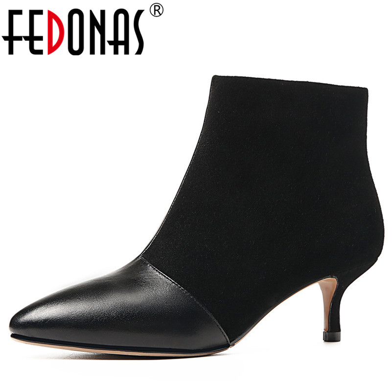 FEDONAS 1Fashion Women Ankle Boots Genuine Leather+Cow Suede Autumn Winter Warm High Heels Shoes Woman Pointed Toe Basic Boots цены