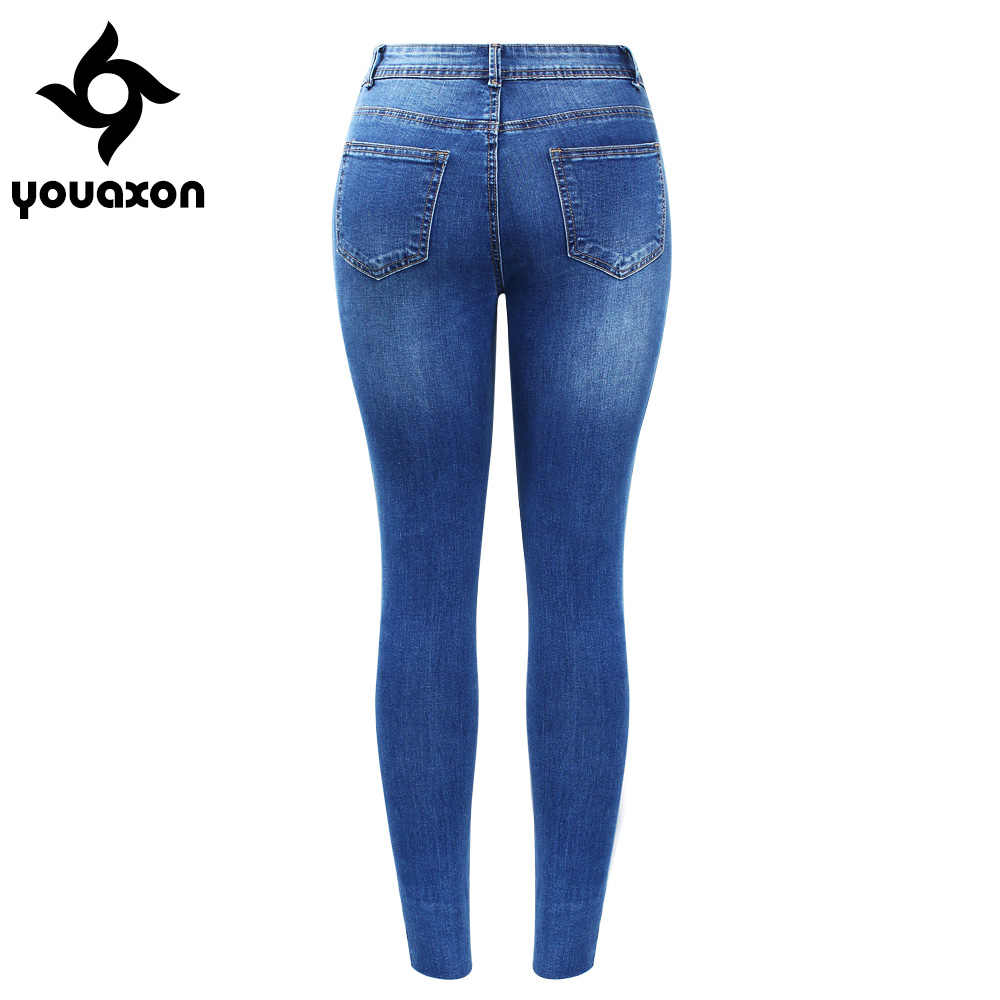 2138 Youaxon nowy Plus rozmiar hafty dżinsy z bocznymi paskami damskie rozciągliwe spodnie dżinsowe mama Jean Femme dla kobiet dżinsy