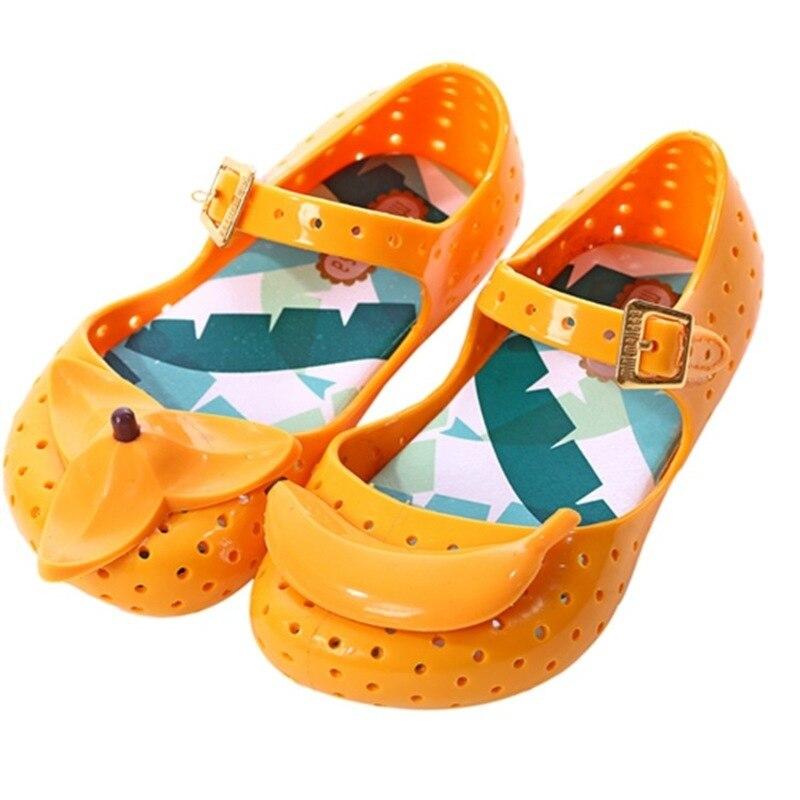 Mini Melissa Children Fashion Kids Casual Hollow Dots Buckle Metal Princess Banana Snekaer Clogs Mules Girls Jelly Shoes Sandals