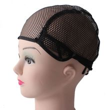 Mesh Black Lace Wig Caps For Making Net Wigs Elastic Cap Crochet Weaving Hairnets With Adjustable Straps Back Free Size