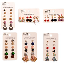 2019 new fashion gorgeous women's jewelry girl birthday party ear studs mixed with 6 pairs /set luxury earrings Free shipping(China)