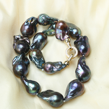 Natural Black Baroque Pearl Necklace 2