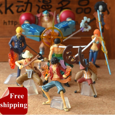 New anime one piece action figures 2 years later Luffy Zoro Sanji Usopp Brook Franky Nami Robin Chopper 9pcs/set model toy hot|model toy|toys hot|anime one piece -